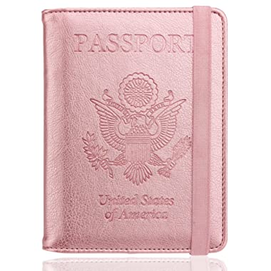 WALNEW RFID Passport Holder Cover Traveling Passport Case (Rosegold)