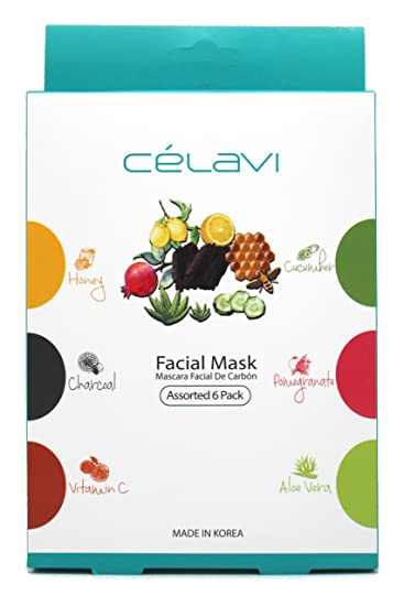 Celavi Essence Facial Mask Paper Sheet Korea Skin Care Moisturizing 6 Pack (Assorted)