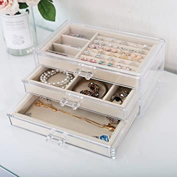 V-HANVER Jewelry Boxes for Women with 3 Drawers, Velvet Jewelry Organizer for Earring Bangle Bracelet Necklace and Rings Storage & Beige