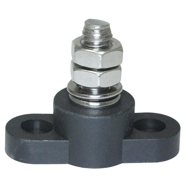 Insulated Battery Power Junction Post Block 3//8 Lug X 16 thread Black Ground