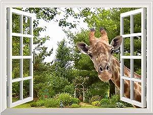 "Wall26 Creative Wall Sticker - A Curious Giraffe Sticking Its Head into an Open Window | Cute & Funny Wall Mural - 36""x48"""