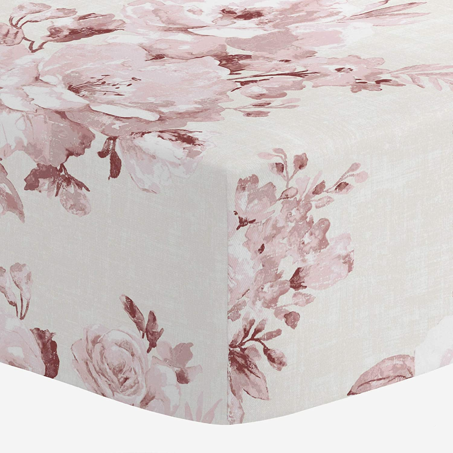 Carousel Designs Rose Farmhouse Floral Crib Sheet - Organic 100% Cotton Fitted Crib Sheet - Made in The USA