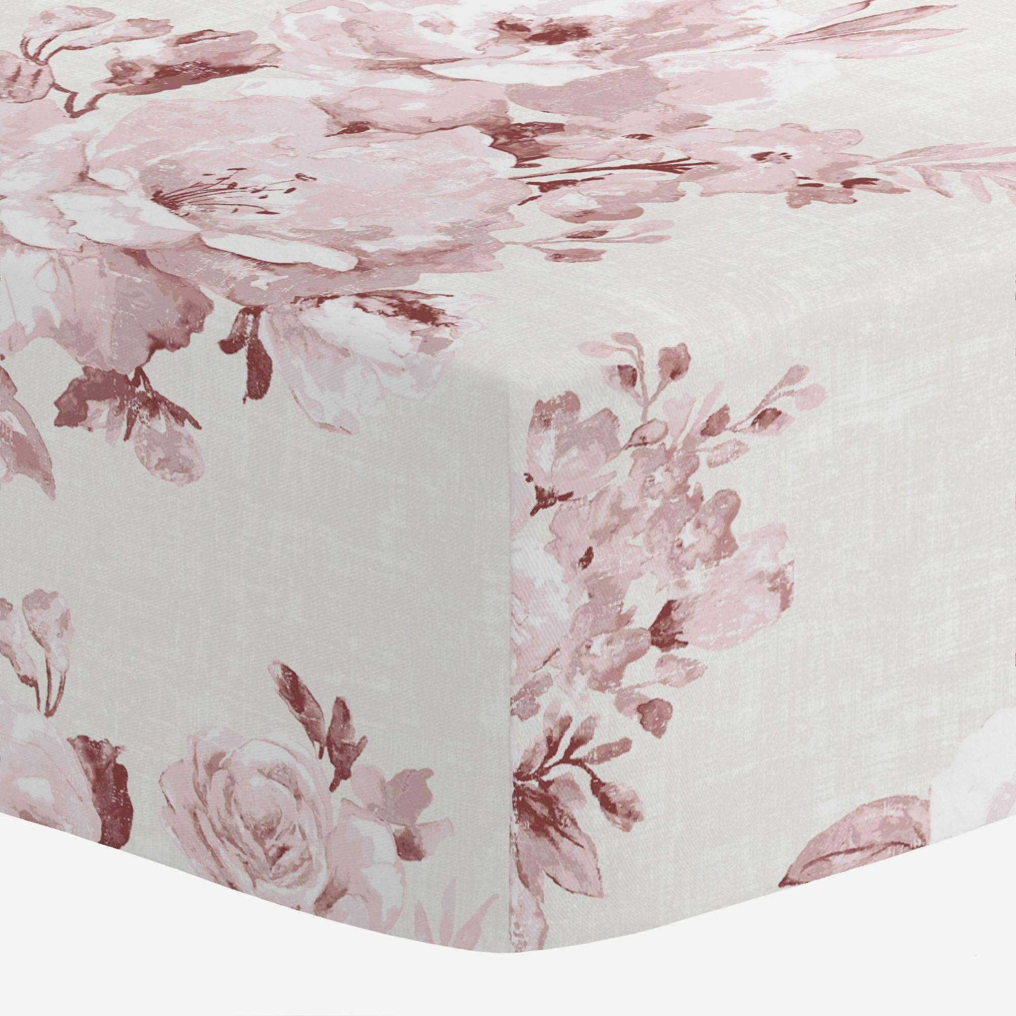 Carousel Designs Rose Farmhouse Floral Crib Sheet - Organic 100% Cotton Fitted Crib Sheet - Made in The USA by Carousel Designs