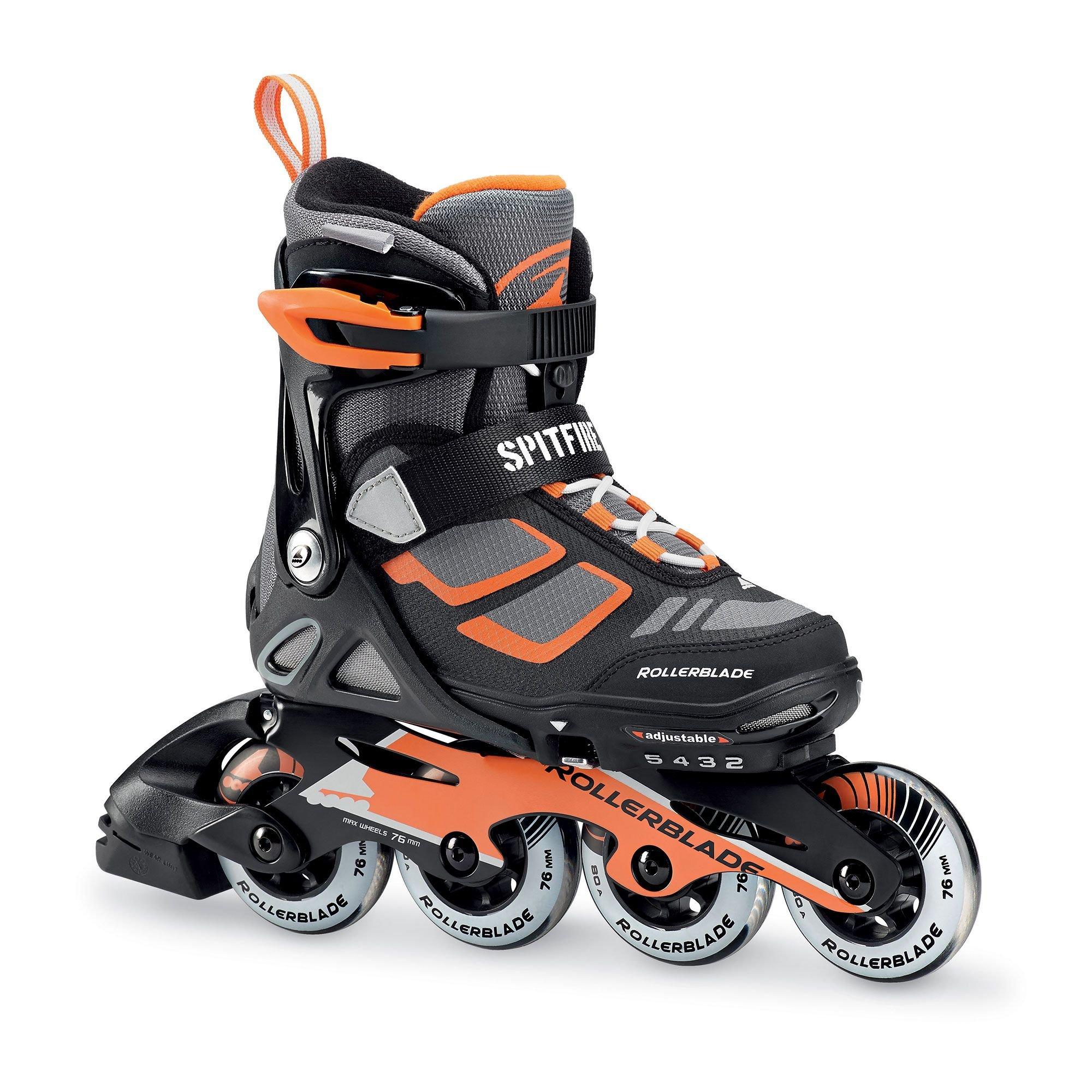 Rollerblade Spitfire LX Kids 4 Full Sizes Inline Skates, Black/Orange, Adjustable Size 5 To 8