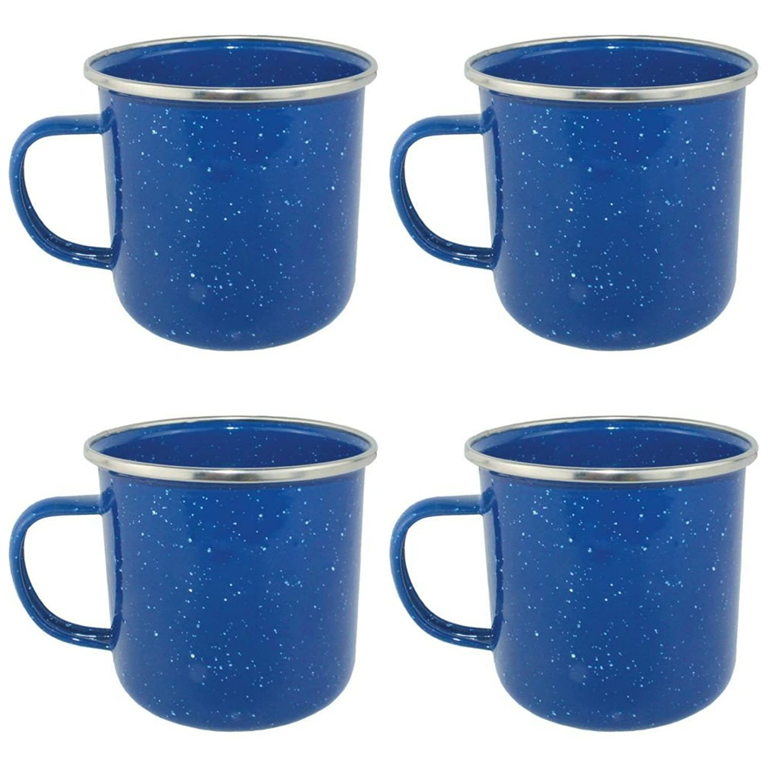 4 Yellowstone Enamel Blue Camping 360ml Mugs