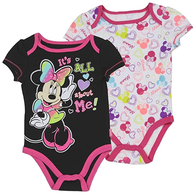 2dac6aecc Amazon.com: Minnie Mouse Infant Baby Girls It's All About Me Onesie  Bodysuit Creeper (2-Pack) White/Pink: Clothing