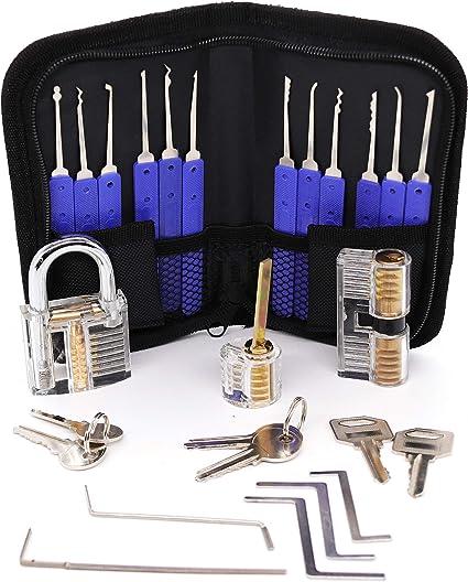 WeyTy Set de ganzúas con cerraduras de entrenamiento transparentes,instrucciones y estuche de cuero. 17 piezas: Amazon.es: Coche y moto