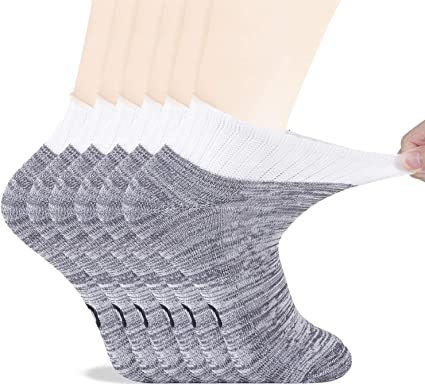 Men/'s Bamboo Diabetic Ankle Socks with Seamless Toe and Non-Binding Top,6 Pairs