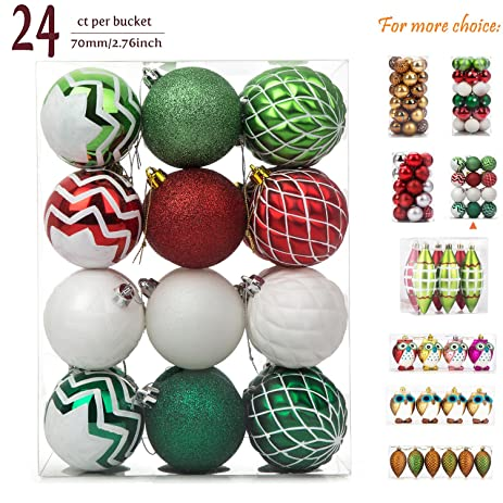 ipegtop christmas balls ornaments 24ct shatterproof glitter swirl color painting ball baubles for holiday wedding - Amazon Christmas Tree Decorations
