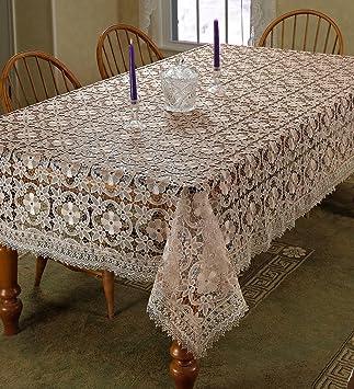 Violet Linen Chateau Embroidered Vintage Lace Design Oblong/Rectangle  Tablecloth, 70u0026quot; X 120u0026quot