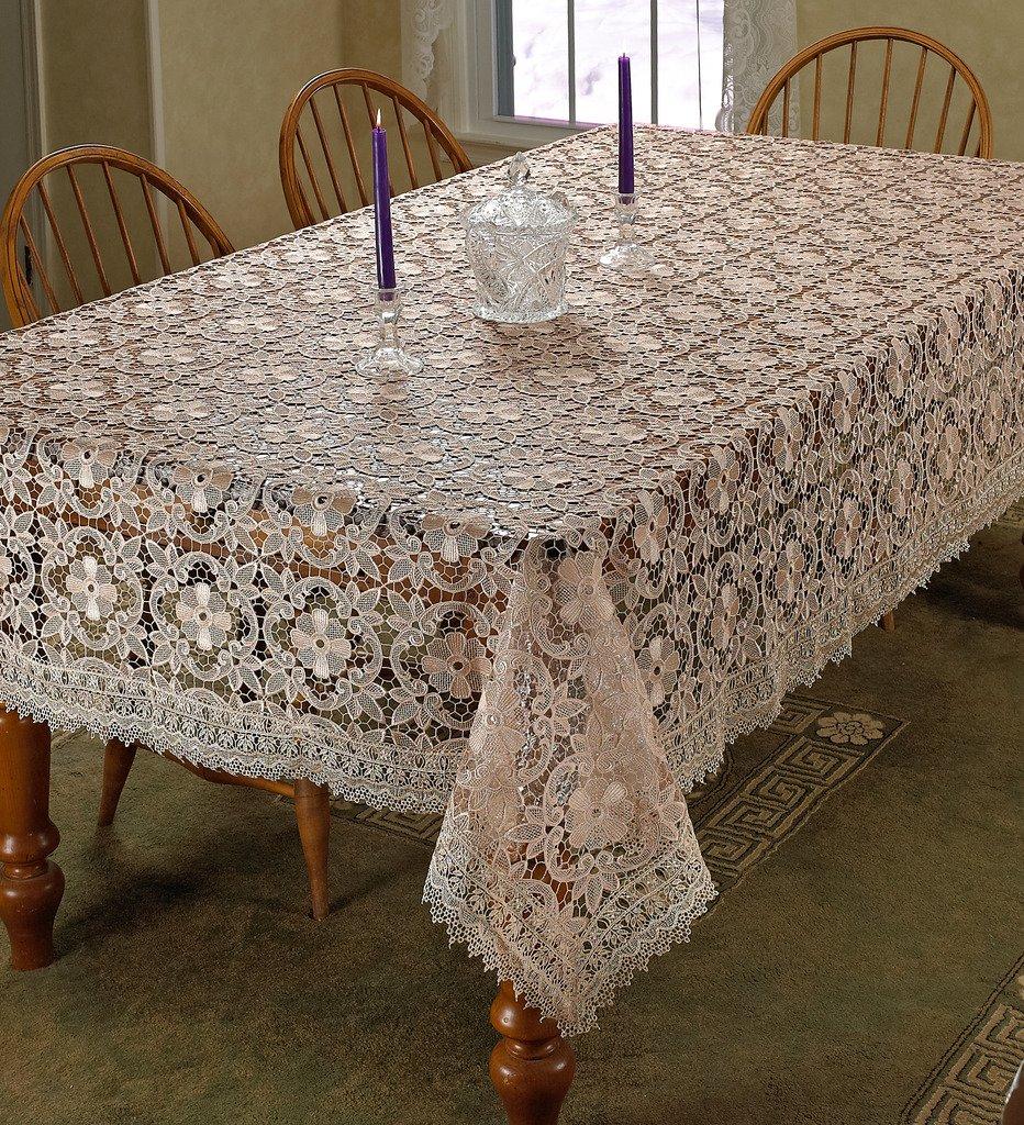 Violet Linen Chateau Embroidered Vintage Lace Design Oblong/Rectangle Tablecloth, 70'' x 140'', Cream