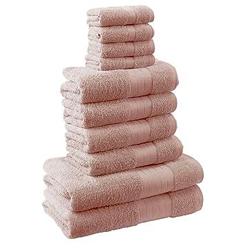 Dreamscene - Toalla de baño (10 Piezas, 100% algodón, 500 g/m²), Color Rosa: Amazon.es: Hogar