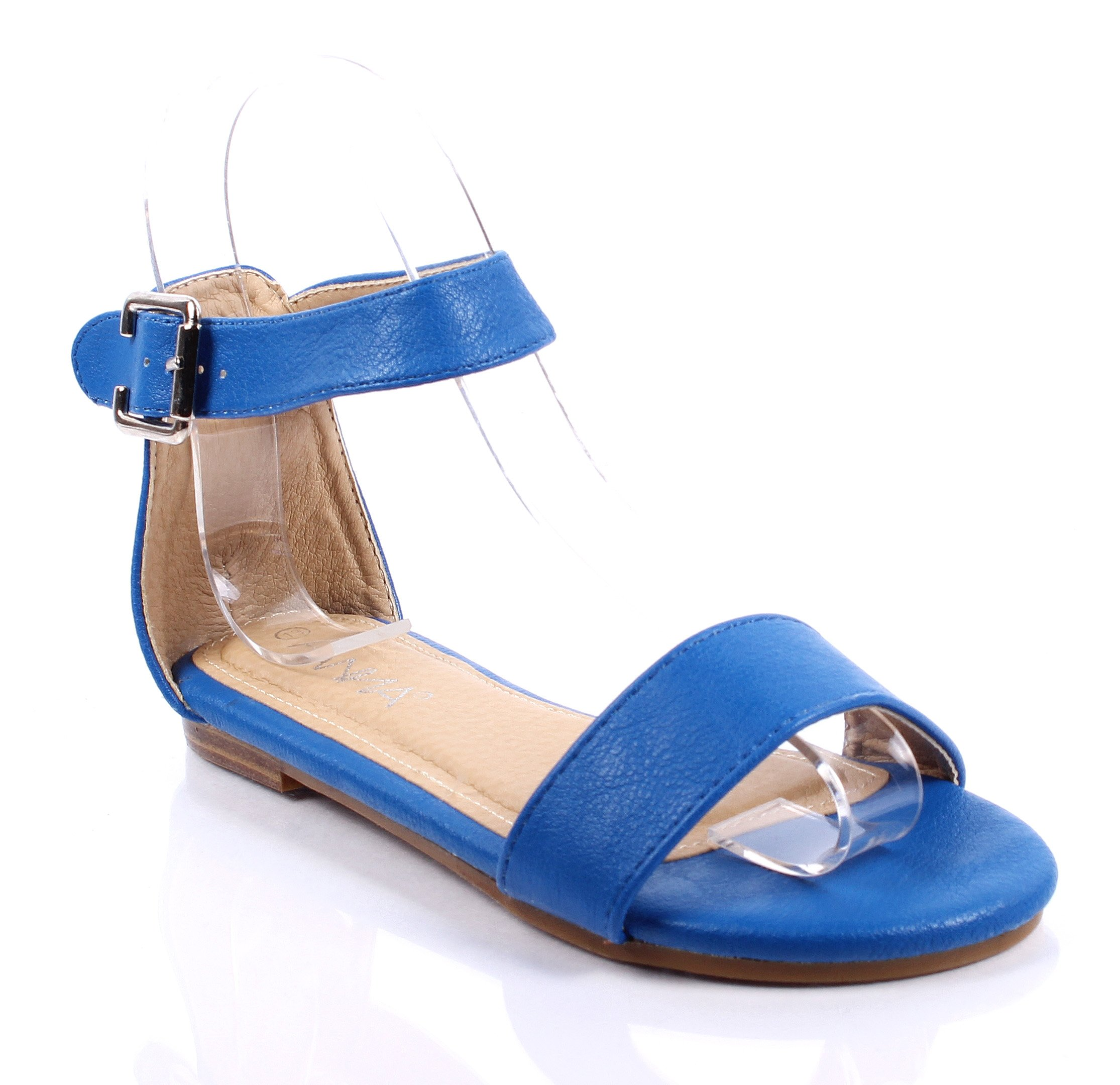Cute Ankle Strappy Buckle Silp on Casual Girls Summer Sandals Youth Kids Shoes Size New Without Box (9, Royal Blue)