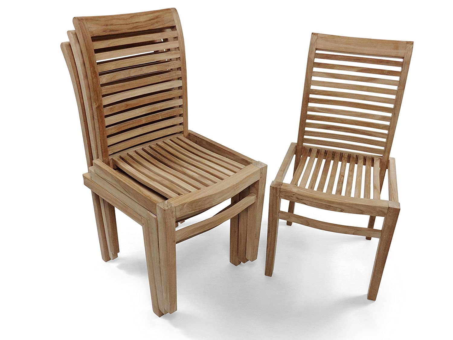 ... Grade A Teak Casa Blanca Armless Stacking Chair, Designer Look W  Contour Seats. Assembled. Packed And Priced 4 Per Box, Worldu0027s Best Outdoor  Furniture!