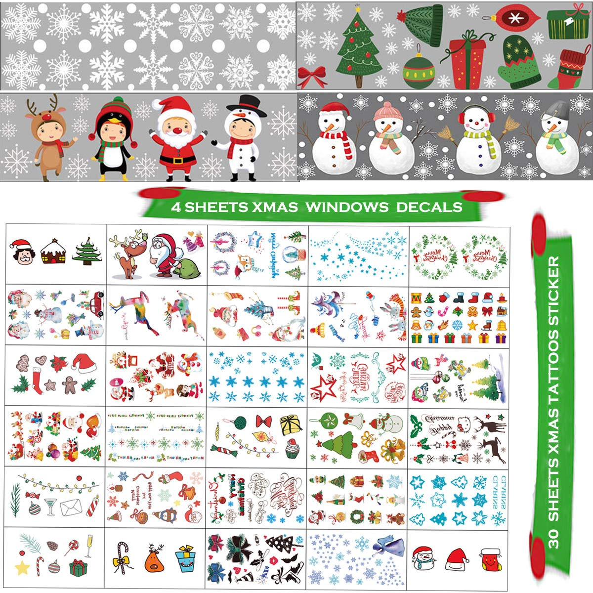 Bonus Tattoos 34 Sheets Youwith Joy 400+ Christmas Window Cling Sticker Snowflake Decoration Winter Wonderland Xmas Party Supplies Santa Claus Elf Reindeer Snowman Decal Ornament