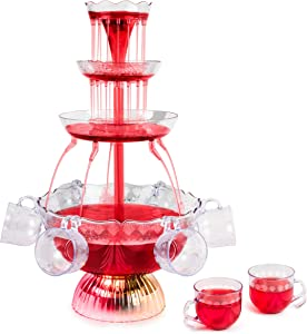 Nostalgia LPF230 3-Tier Party Fountain with LED Lighted Base, 1.5 Gallon 8 Cup, Clear