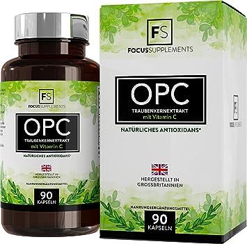 OPC Extracto de semilla de uva puro - 600mg de Focus Supplements | 80 mg de vitamina C por porción | SOPORTE ANTIOXIDANTE POTENTE | Apoyo al corazón y ...
