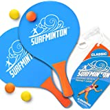 VIAHART Surfminton Classic Beach Tennis Wooden Paddle Game Set (4 Balls, 2 Thick Water Resistant Wooden Rackets, 1…