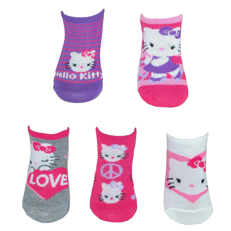 Sanrio Hello Kitty Girl's No Show Socks (5 Pair Pack) Small 4-7.5 Multi
