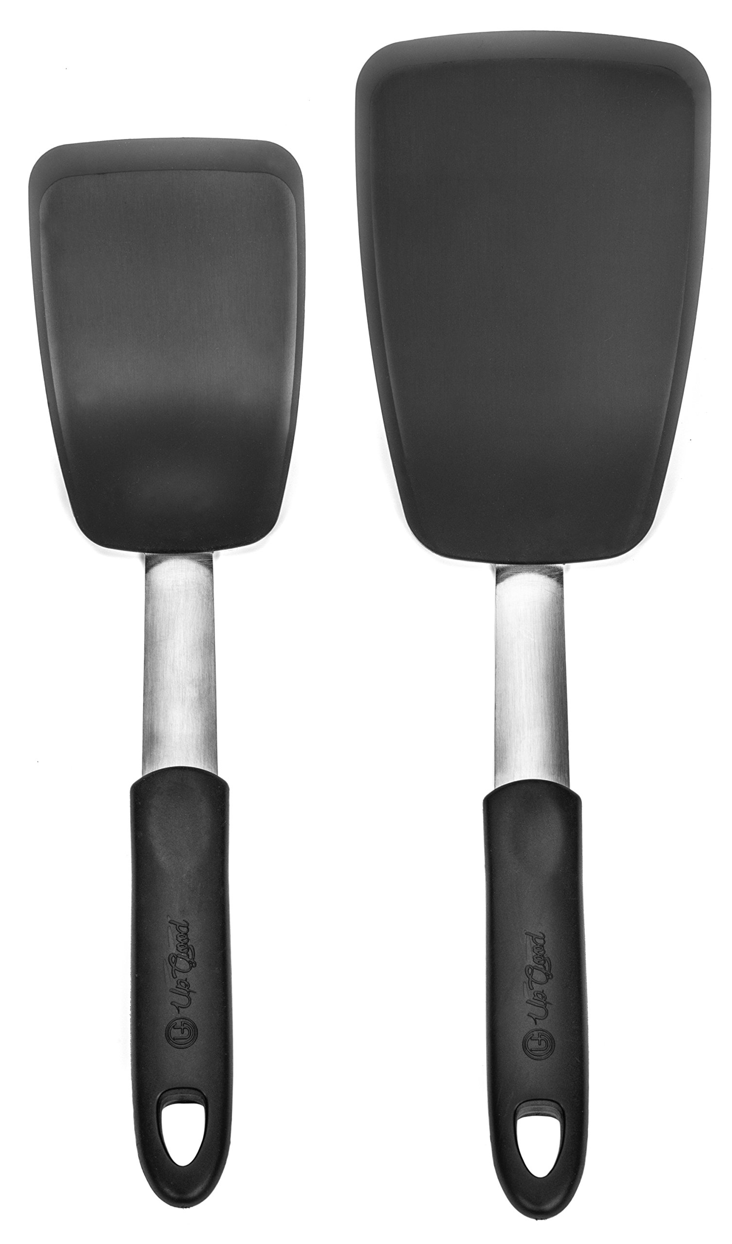 Turner Set | 2 Pack | Large and Small Kitchen Spatulas | Stainless Steel & Silicone | Non-Stick and Heat Resistant Utensils for Cooking, Flipping and Pressing (UpGood Kitchen Tools, Shadow Black) by UpGood (Image #7)