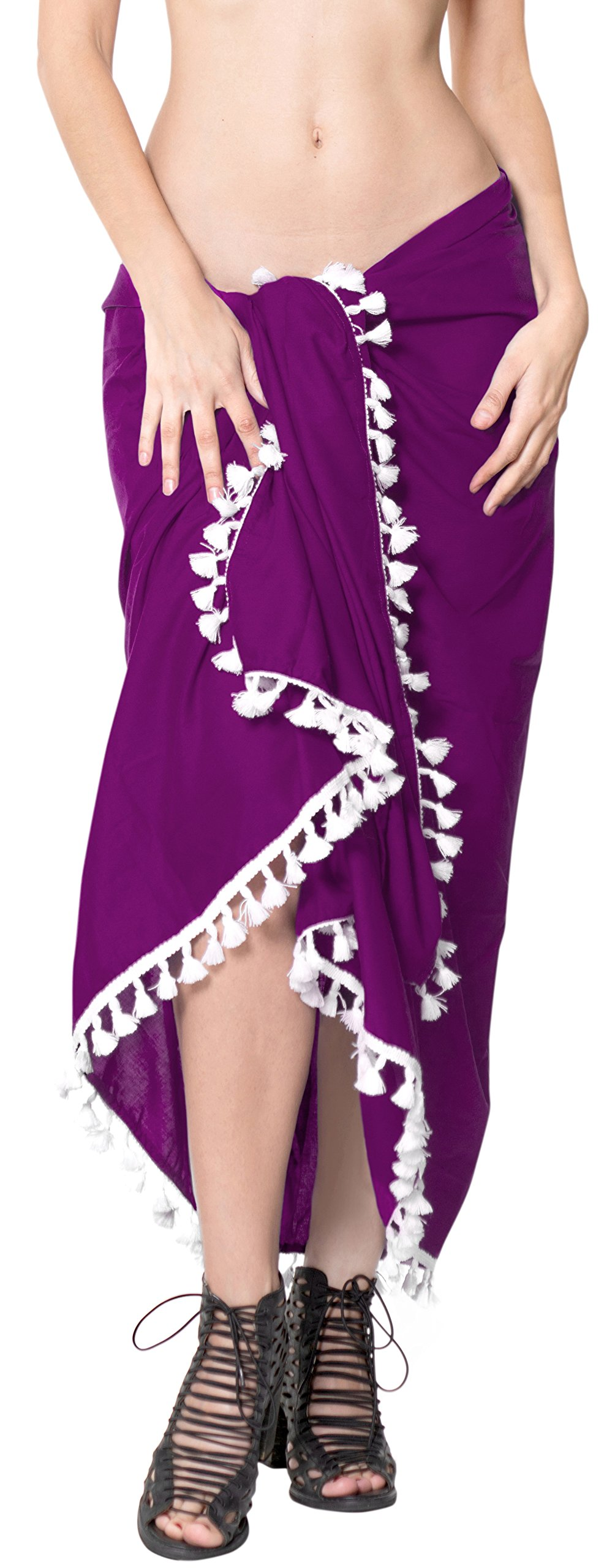 LA LEELA Rayon Towel Bathing Beach Girls Sarong Solid 78''X39'' Violet_4071