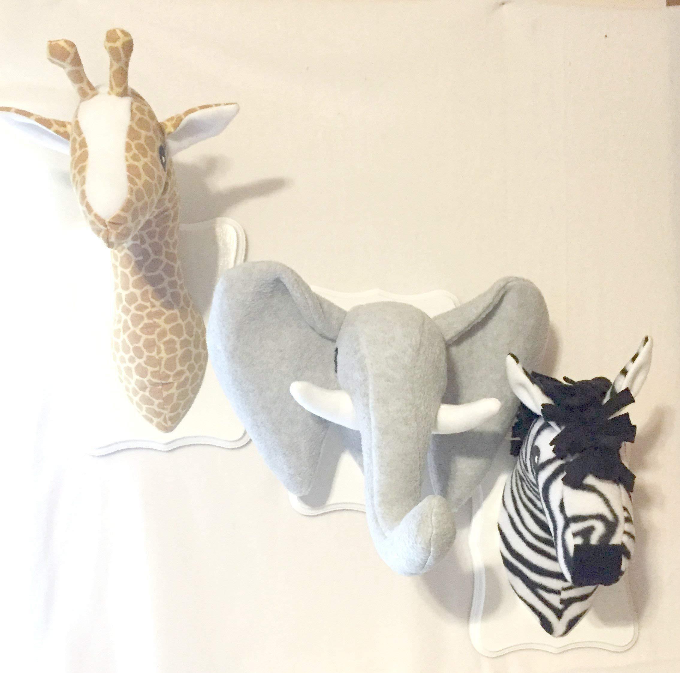 Safari Animal Heads Trio/stuffed animal heads/Faux animal heads/gold giraffe, heather elephant, zebra/best baby shower gifts by Gramma-in-the-Box