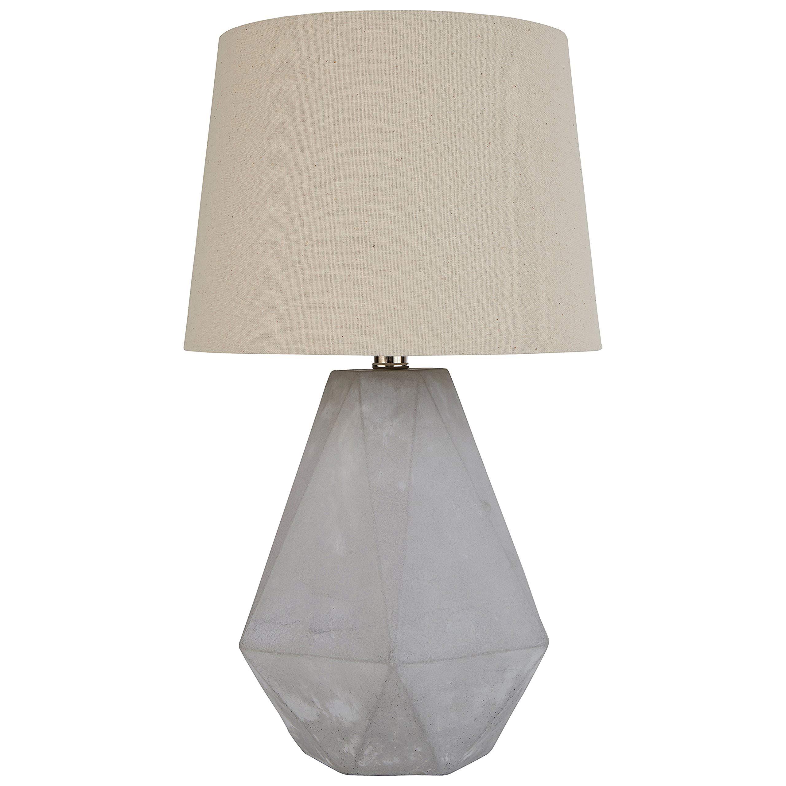 Rivet Mid Century Modern Diamond Cut Concrete Decor Bedside Table Desk Lamp With Light Bulb - 10 x 10 x 20 Inches, Nickel Finish