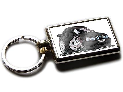 Koolart Cartoon Car Ford Escort RS Turbo Chrome Keyring Picture Both Sides (Black)