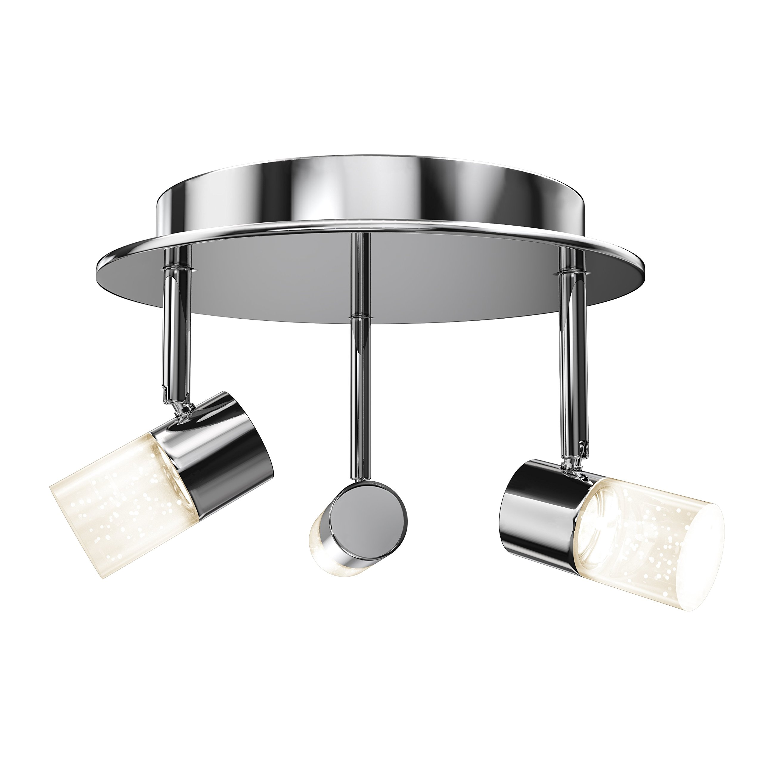 Artika CL36W-HD1 Essence Flare RD Multi-Directional Flushmount Ceiling Light Fixture 3x6W with Integrated LED, Chrome Plated Finish