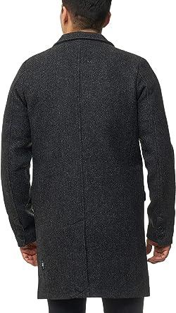 Indicode Herren Ilchester Wollmantel mit Stehkragen einfarbig, melliert oder im Tweed Karo Muster| Herrenmantel Wintermantel Lange Übergangsjacke