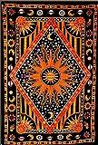 ModTradIndia - Celestial Sun Moon Stars Planet Tapestry, Indian Hippie Wall Hanging , Bohemian Bedspread, Mandala Cotton Dorm Decor Beach blanket