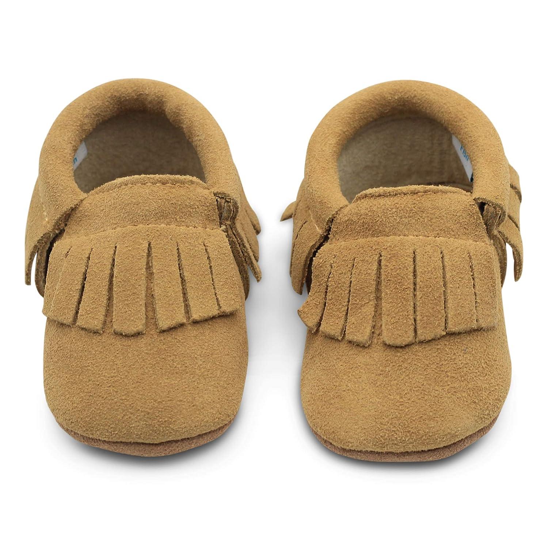 Dotty Fish Zapatos para bebés de bebés. Mocasines con borlas. Zapatos de Cuna Prewalkers Antideslizantes. Chicos Chicas. Azul Marino, Gris, Bayas Rojas y ...