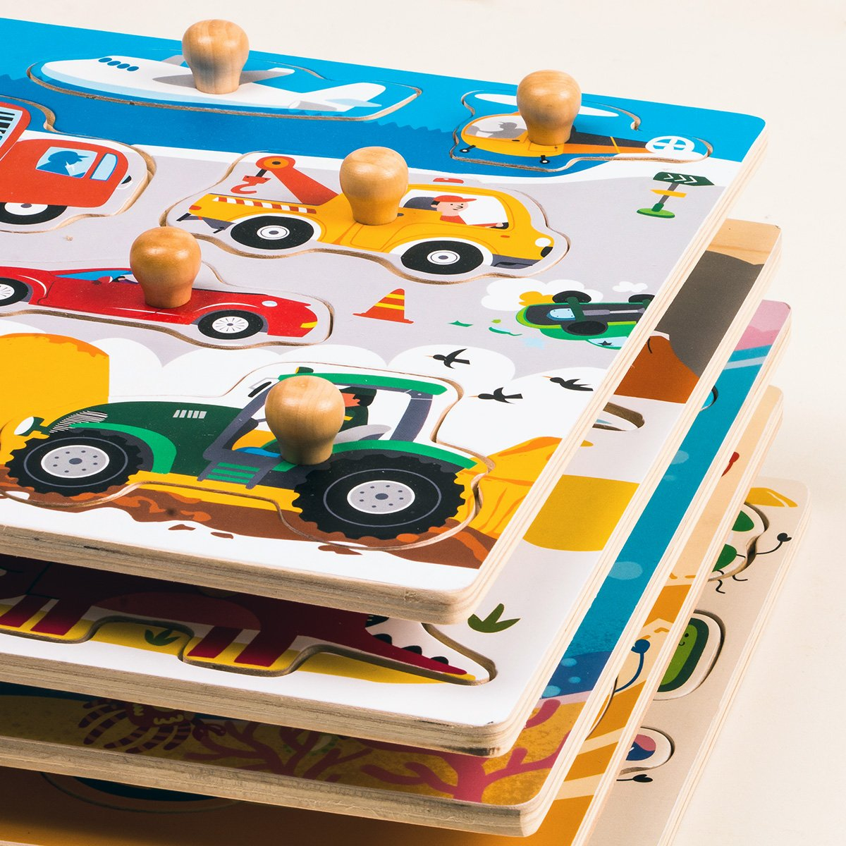 Robud Wooden peg Puzzle 8 Pieces-Jigsaw Puzzle Boards for Baby Kids-Good for Children Toddler Learning /& Education-Colorful /& Funny Gifts-Cars and Airplane