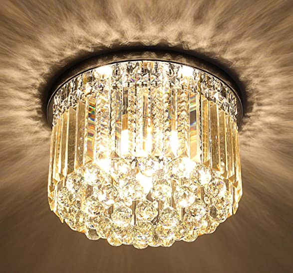 Crystal Chandelier Light Fixtures Ceiling Flush Mount