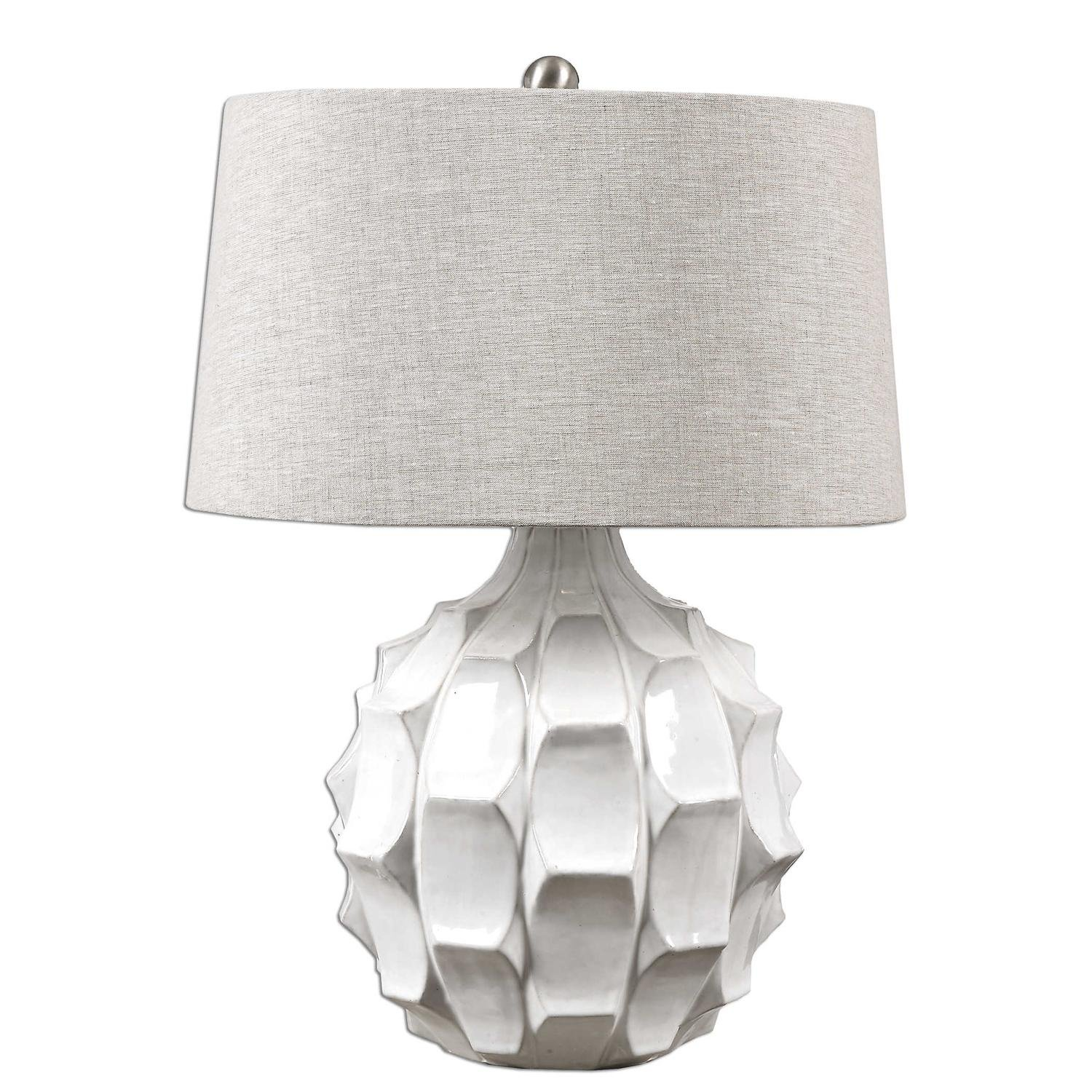 Amazon Com Diva At Home 27 White Glossy And Distressed Table Lamp