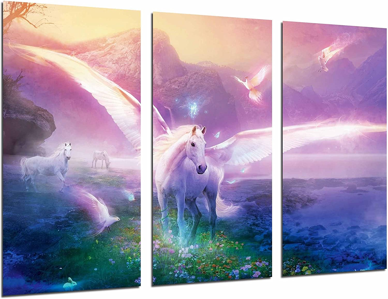 Cuadros Camara Poster Fotográfico Paisaje Fantasia Caballo Unicornio, Montaña y Naturaleza Tamaño total: 97 x 62 cm XXL, Multicolor