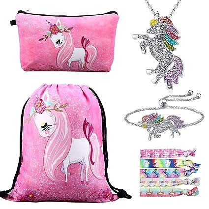 RLGPBON Pack 5 Unicornios Mochila con cordón/Maquillaje Bolsa/Collar de Cadena de aleación/Pulsera/5 Piezas de Lazos para el Cabello ...