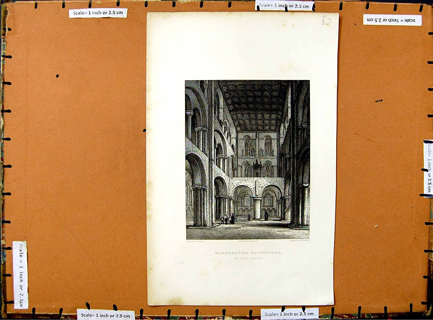 C1800 North Transept Winchester Cathedral Architecture Old-print E3771800116