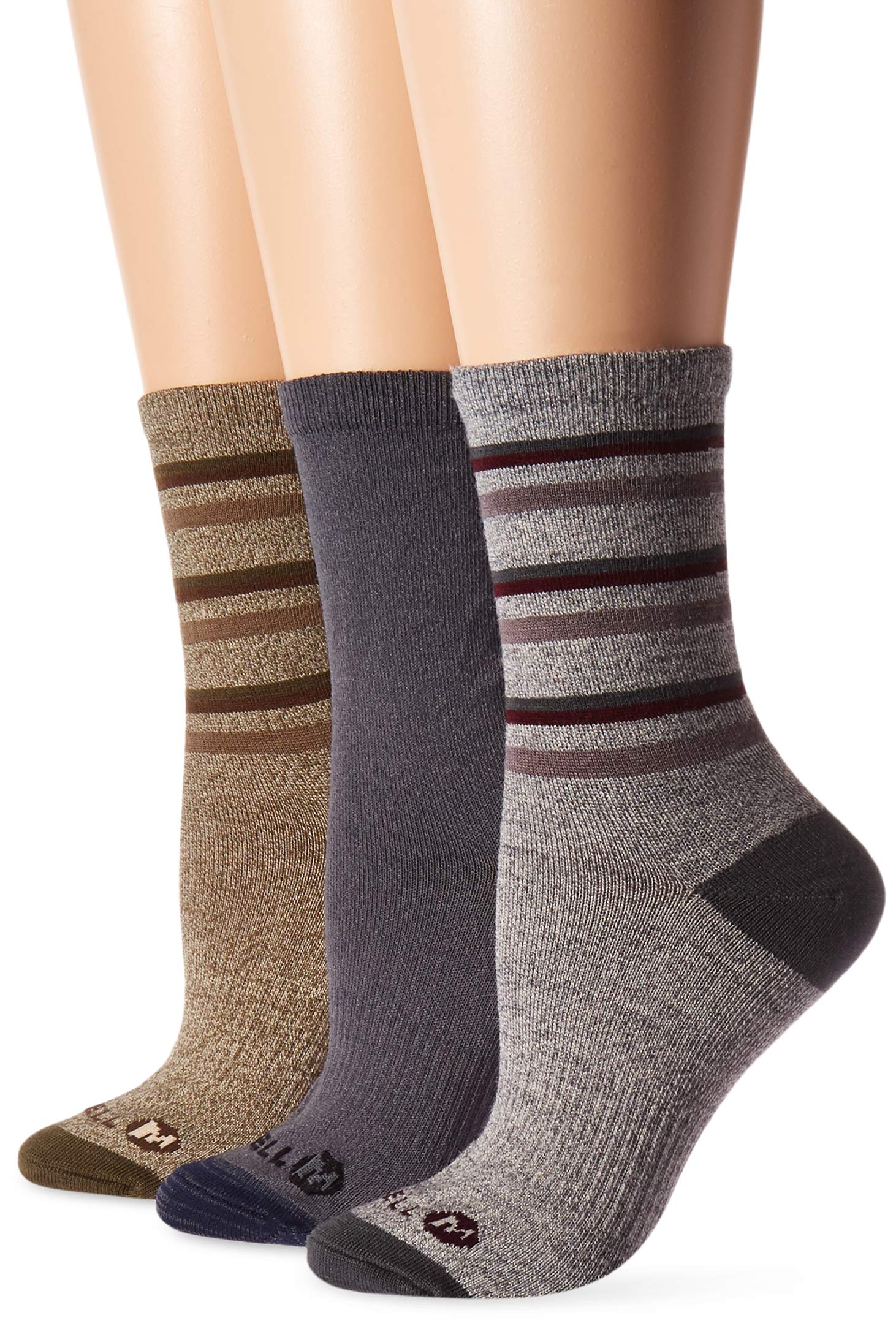 Merrell Women's 3 Pack Cushioned Performance Hiker Socks , Charcoal Marl (Crew), Shoe Size: 4-9.5 by Merrell