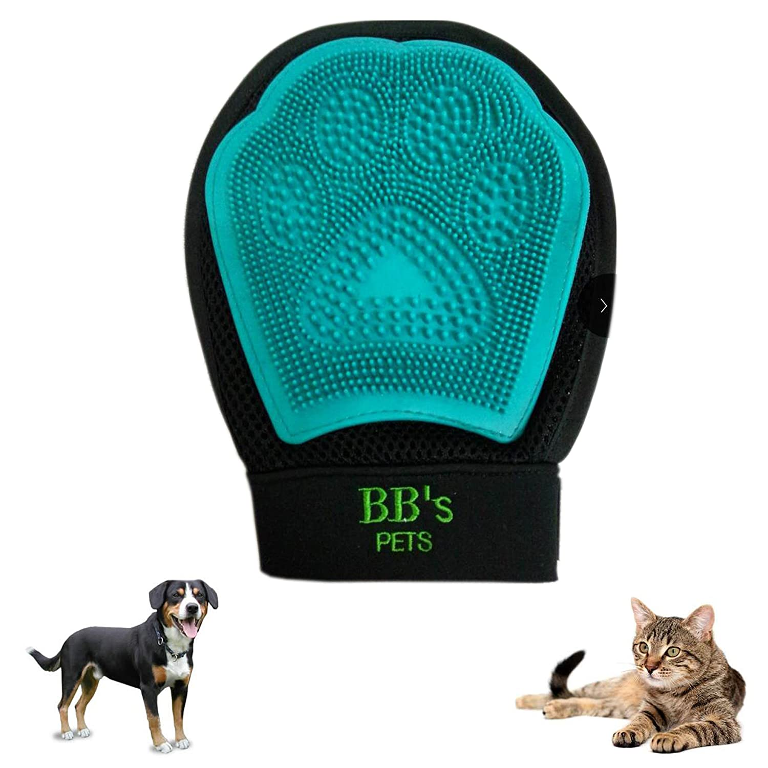 #1 BEST PET BRUSH GLOVE – DEMATTING BRUSH – FOR DOGS AND CATS – FOR LONG AND SHORT HAIR – PETS – GROOMING – BB'S PETS - YOUR PET WILL ENJOY IT! BB'S PETS