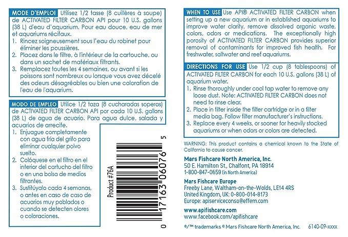 Amazon.com : API ACTIVATED FILTER CARBON Aquarium Filtration Media 5.5-Ounce Box : Aquarium Filter Accessories : Pet Supplies