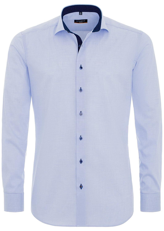 Eterna - Slim Fit - Bügelleichtes Herren Langarm Hemd mit Kent Kragen und Stretch Material in Blau kariert (8839 F132)
