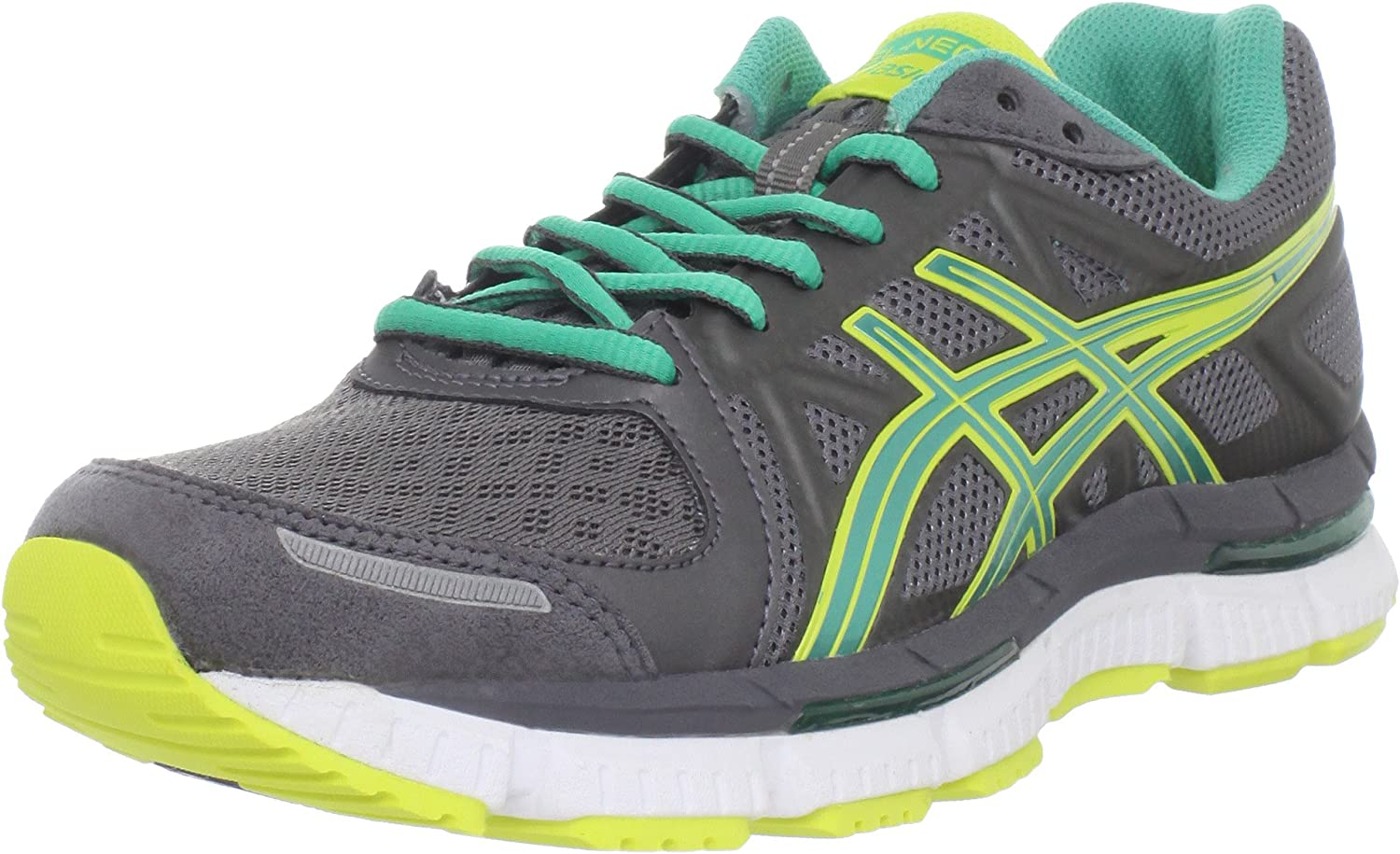 Asics - Zapatillas de Running para Mujer Gris Titanium/Emerald/Lemon Chrome: Amazon.es: Zapatos y complementos