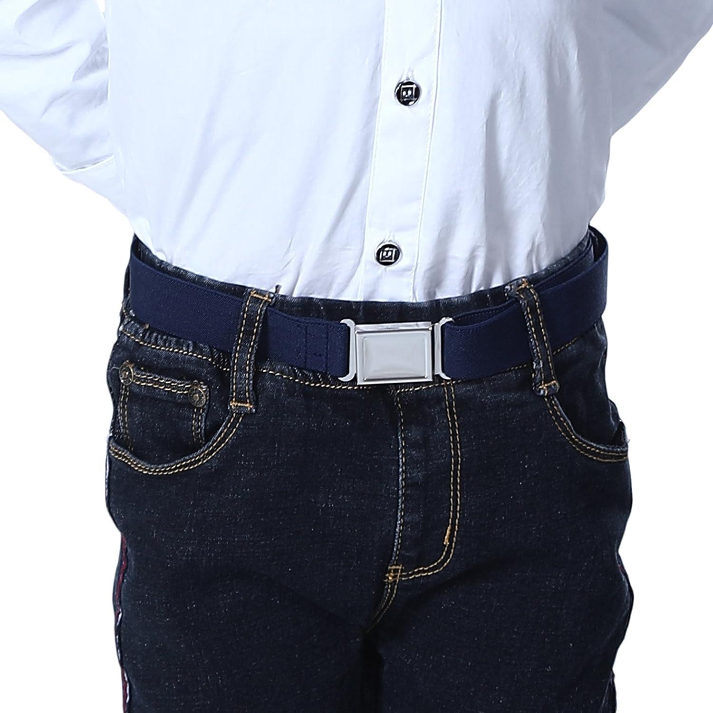 Kids Toddler Adjustable Magnetic Belt Big Elastic Stretch Belt with Easy Magnetic Buckle for 2-15 Years Boys Girls