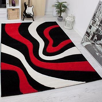 vimoda alfombra moderna de diseo rayado cortado a mano contornos color rojo negro