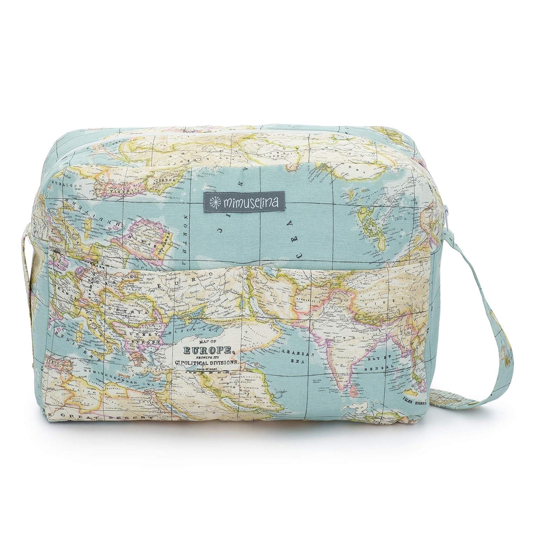 Sac de maternité pour valise hôpital et pour le chariot du bébé by mimuselina Carte du monde/globe Baby Mimuselina SL MIMCARRMAPA