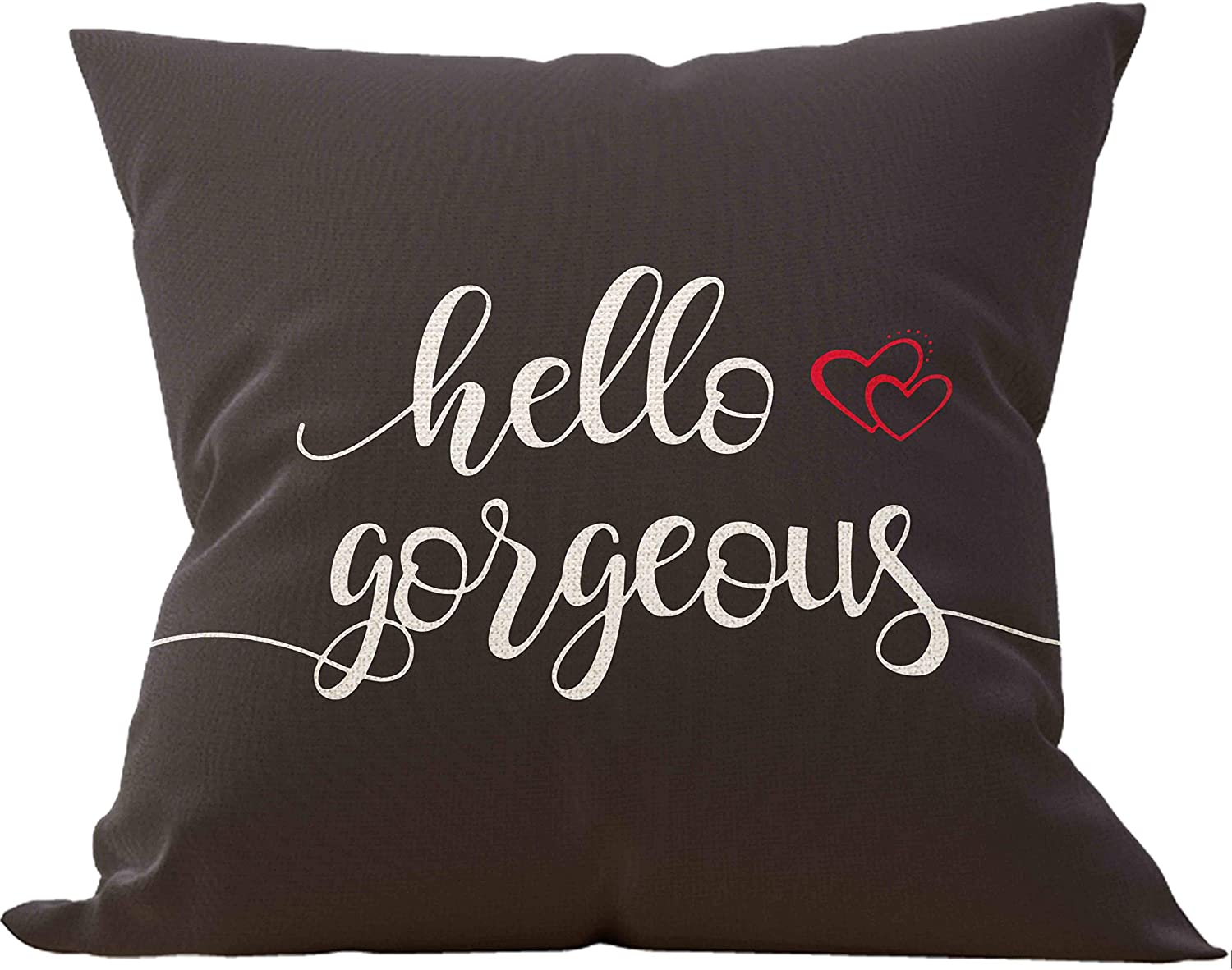 Mancheng-zi Hello Gorgeous Throw Pillow Case, Gift to Black Girls, African American Girl Gift, 18 x 18 Inch Decorative Cotton Linen Cushion Cover for Sofa Couch Bed