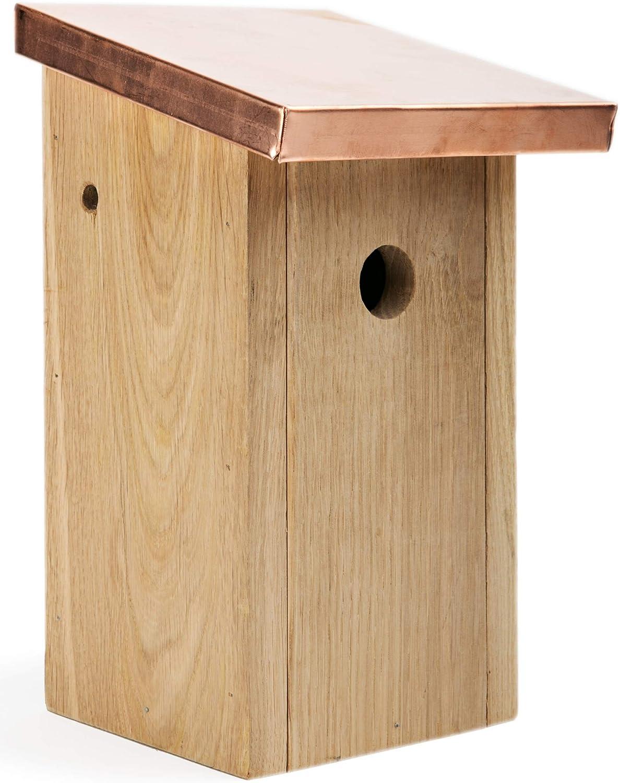 NEST TO NEST Casita De Pajaros Casa I Caja Nido para Pájaros Techo De Cobre, De Madera De Roble I Nidos para Pajaros
