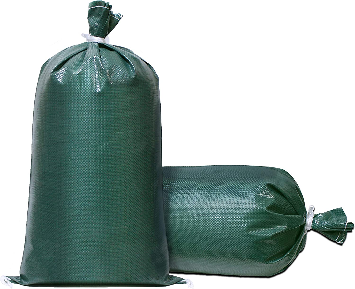 "TerraRight Sandbags - Extra Durable Empty Green Woven Polypropylene Sand Bags w/Ties, Max. UV Protection, 14"" x 26"" (20 Count)"