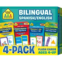 School Zone - Bilingual Spanish/English Flash Cards 4-Pack - Ages 4 and Up, Bilingual Sight Words, Bilingual Numbers 1-100, Bilingual Colors, and More (Flash Card 4-pk) (English and Spanish Edition)